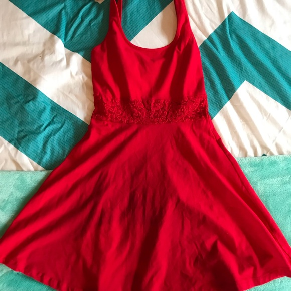 Forever 21 Dresses & Skirts - Forever 21 Red dress with lace waist